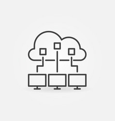 cloud computing outline icon cloud vector image