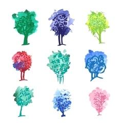 color tree set vector image