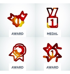 Colorful award business logo set vector image
