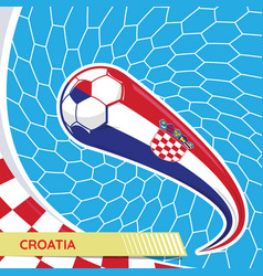 croatia waving flag and soccer ball in goal net vector image