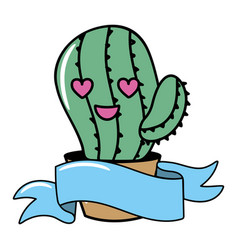 cute cactus plant cartoon vector image