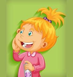 cute little girl smile cartoon character isolated vector image