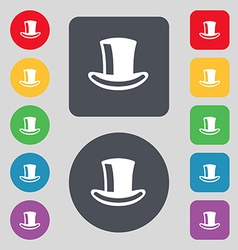 cylinder hat icon sign A set of 12 colored buttons vector image