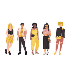 diverse women girl power female group doodle vector image