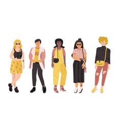 Diverse women girl power female group doodle vector
