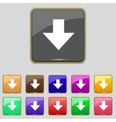Download sign Downloading flat icon Load label Set vector