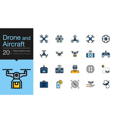Drone aircraft and aerial icons filled outline vector