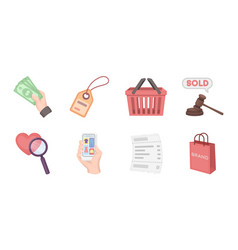 e-commerce purchase and sale icons in set vector image