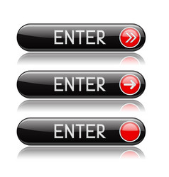 enter button black oval shiny icons with vector image