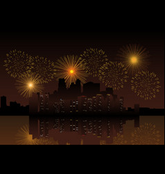 Fireworks on city skyline vector