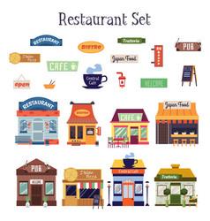 flat cartoon restaurant building exterior and vector image