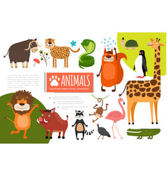 flat zoo animals composition vector image