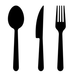 fork spoon and knife silhouettes icons vector image