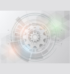 futuristic technology design 3d white paper gear vector image