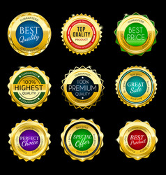 gold premium sale badges set elements vector image