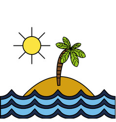 grated island with palm tree with sun and waves vector image