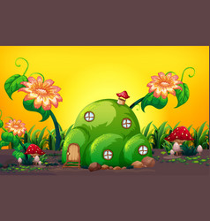 Green hill fairy house in nature vector