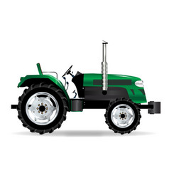 Green isolated tractor vector