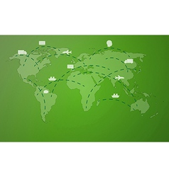 green worldmap with symbols vector image