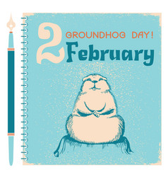 Groundhog day background with marmot on notebook vector