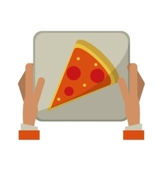 Hand boy delivery box pizza vector