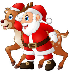 happy cartoon santa and reindeer vector image