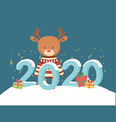 happy new year 2020 celebration reindeer with ugly vector image