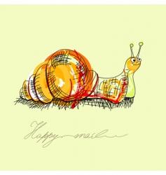 happy snail vector image