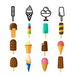 ice cream icon set cream cone chocolate vector image