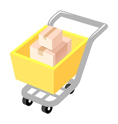 Icon box and cart vector