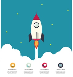 Infographic rocketship for startup concept vector