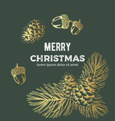 Merry christmas golden sketch style composition vector