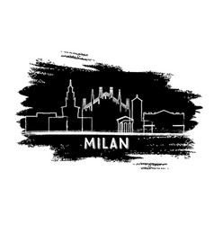 milan italy city skyline silhouette hand drawn vector image