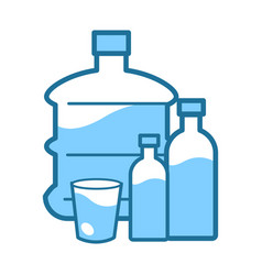 Mineral clean water in gallon and bottle or cup vector
