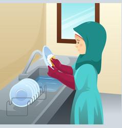 Muslim woman washing dishes vector