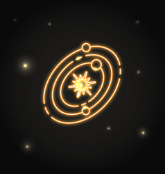 Neon solar system icon in thin line style vector