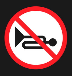 No horn prohibited sign flat icon vector