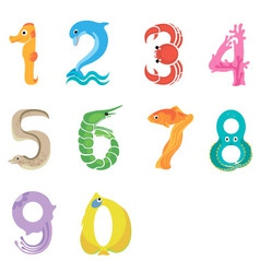 Numbers like sea inhabitants vector image
