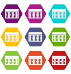 one building brick icon set color hexahedron vector image