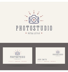 Photo studio logo in retro hipster style and vector