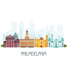 Phyladelphia skyline and famous attractions vector