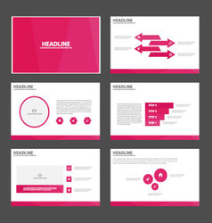 Pink presentation templates Infographic design set vector