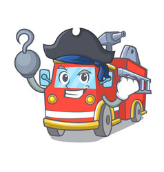 Pirate fire truck character cartoon vector