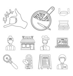 Pizza and pizzeria outline icons in set collection vector