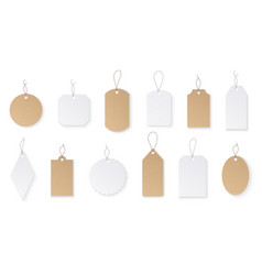 price tags white paper blank hanging labels with vector image