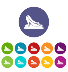 Princess shoes icons set color vector