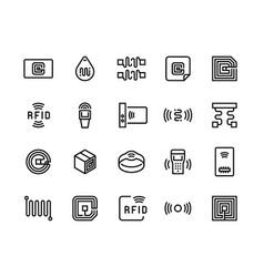 Radio tag line icons wireless rfid chip and radio vector