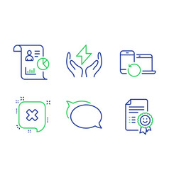 Recovery devices safe energy and reject icons set vector