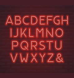 red neon font letters and ampersand symbol vector image