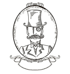Retro man portrait in a top black hat vector image